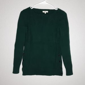 Madewell Pinewood/ Tortoise Shell Button Sweater